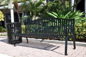 Steel strap metal benches