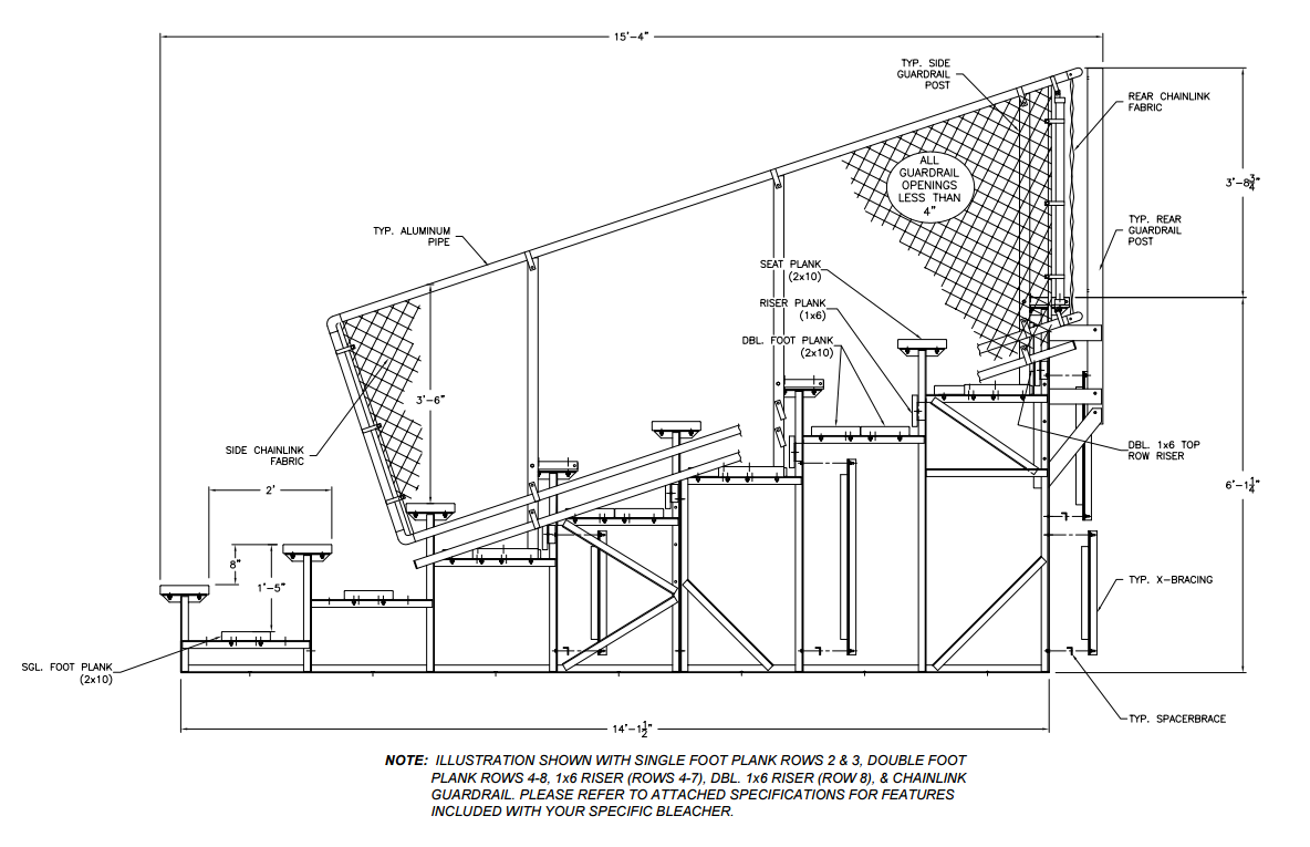 Outdoor bleacher diagram
