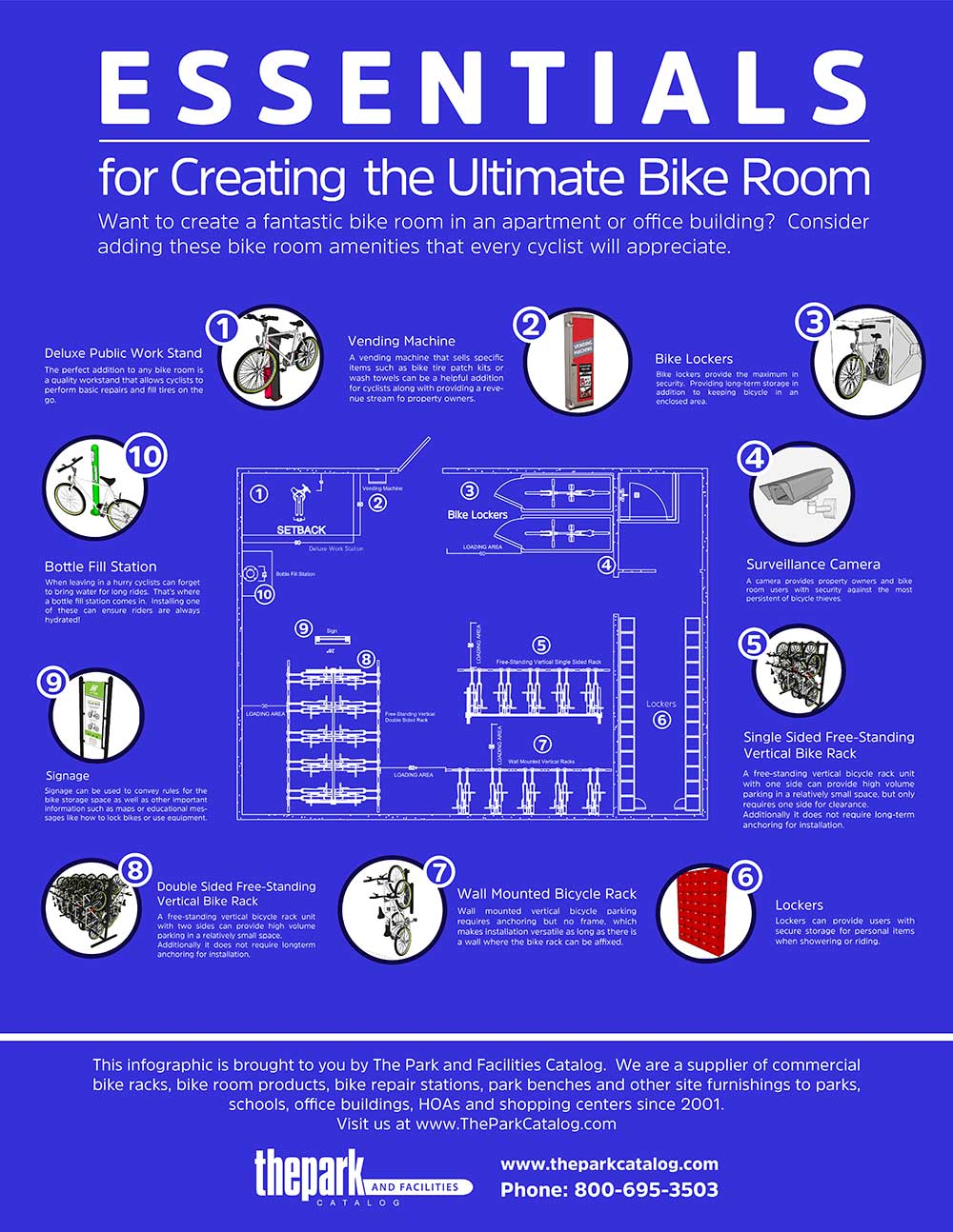 bike repair stations and other bike room amenities