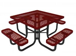 metal picnic table with easy maintenance expanded pattern