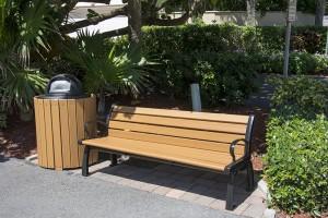 trash can near bench