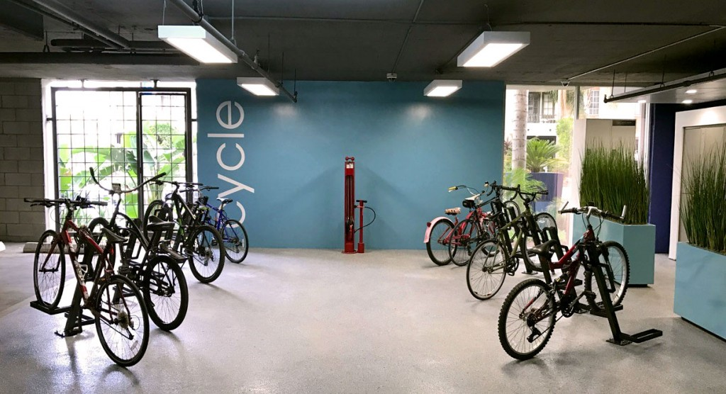 bike room in a los angeles apartment building