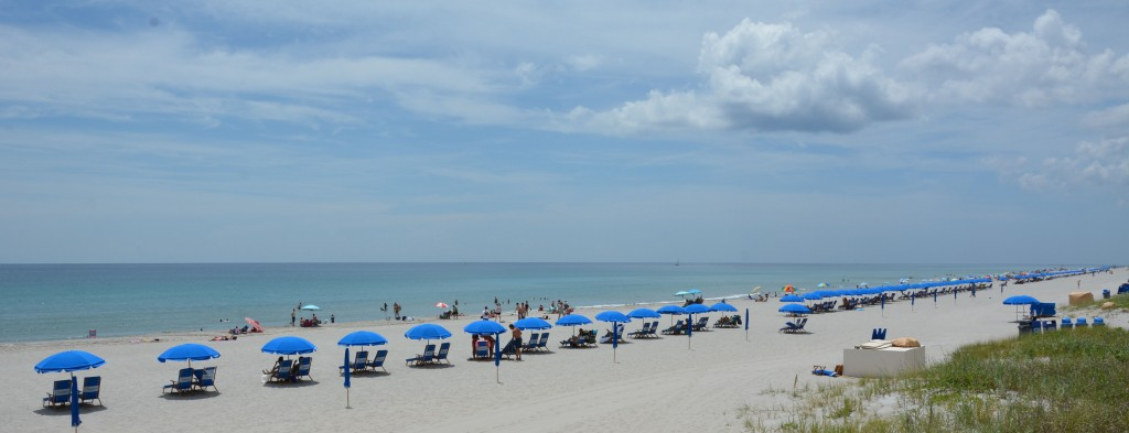 Beach goers relax on Delray Beach