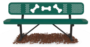 Dog park themed bench
