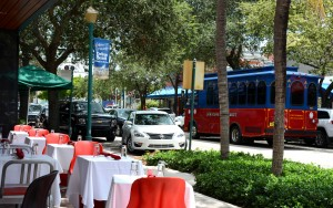 Downtown Delray Beach and Trolley
