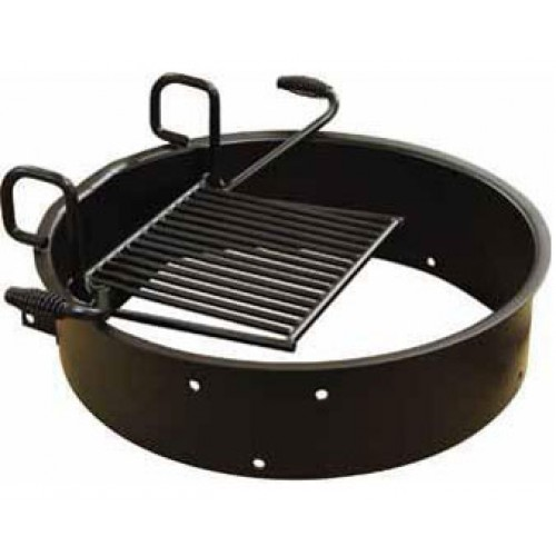 fire ring with adjustable flip grill