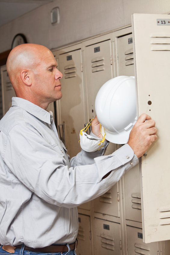 man takes hat employee locker