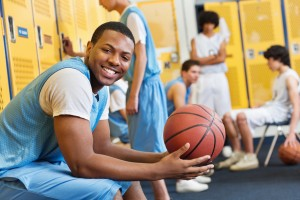 basketball players and athletic lockers