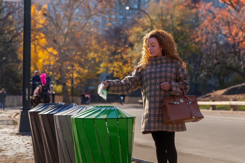 trash receptacles at park