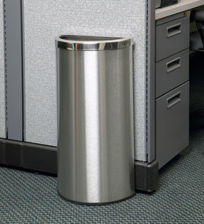 8-Gal. Precision Series Half Moon Stainless Steel Waste Container