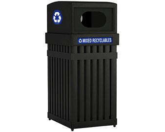 Square Powder Coated Steel Slat Trash Receptacle