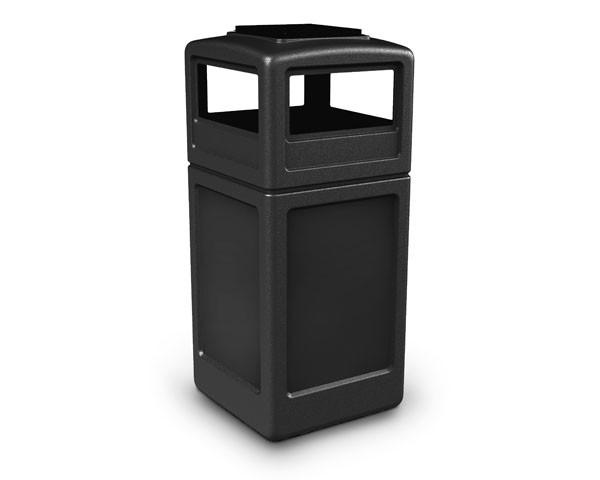 Square Waste Container - Ashtray Lid - 42 Gallon