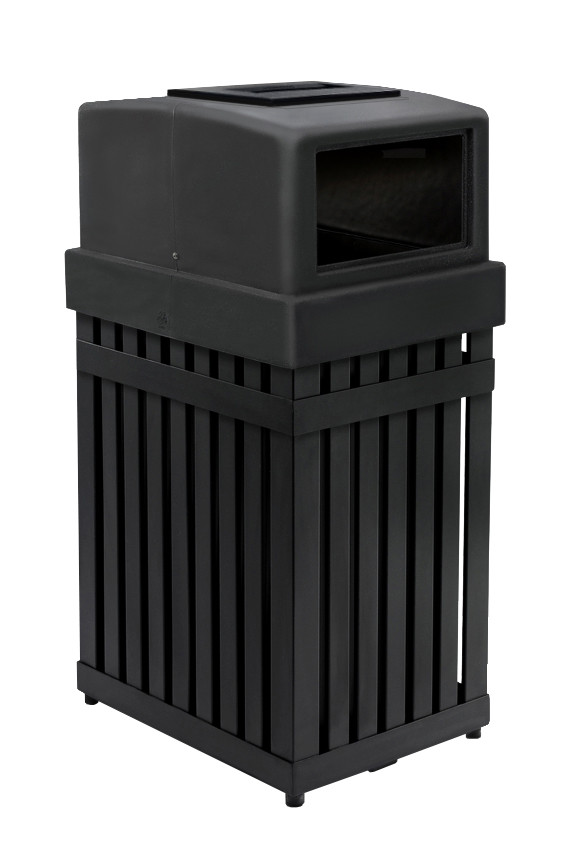 Parkview 1 Steel Receptacle with Ashtray, 25-Gallon