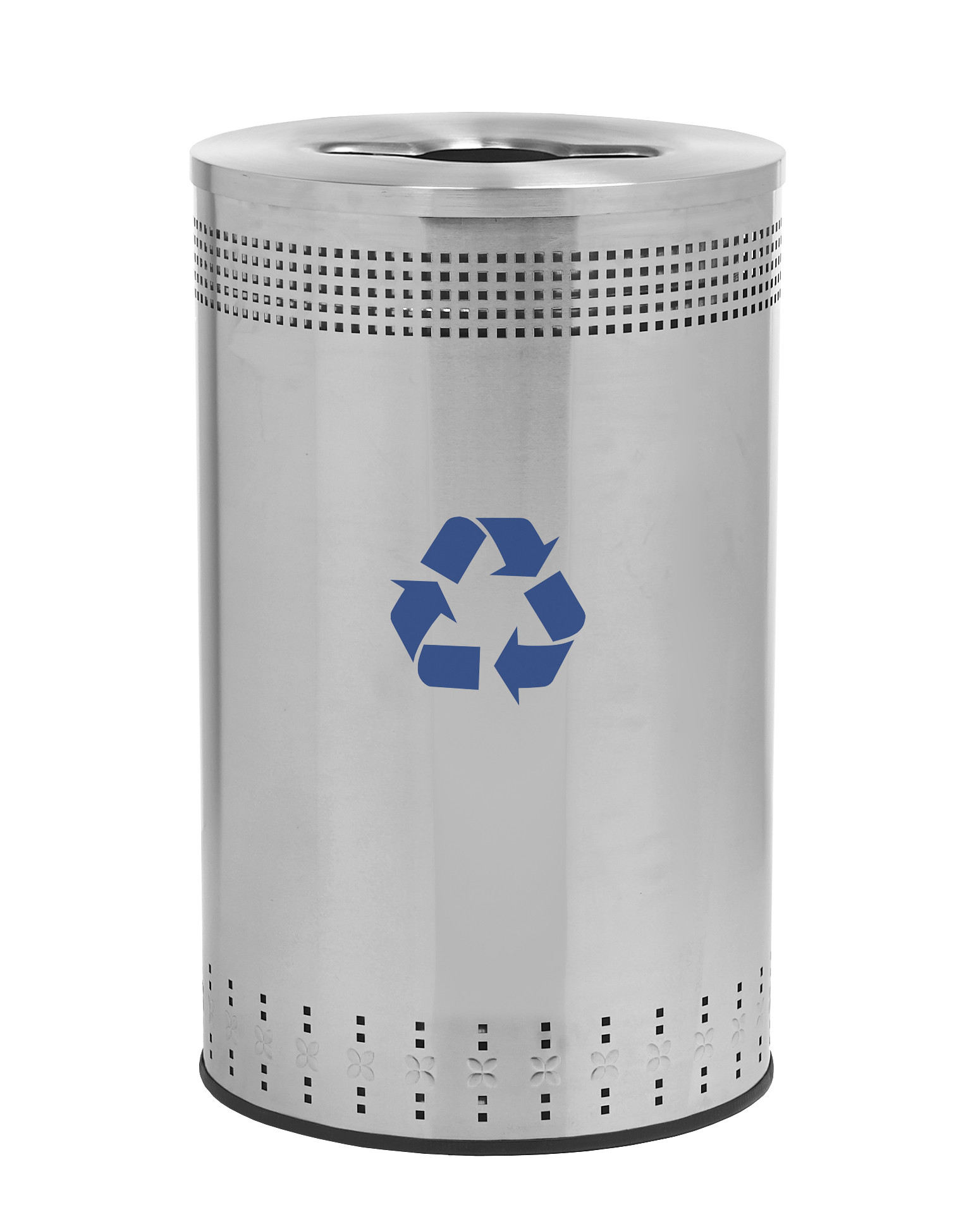 Imprinted 45-Gal Stainless Steel Recycling Receptacle