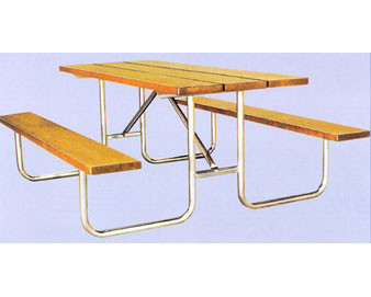 8-Ft. Treated Wood Picnic Table with 16-Gauge Painted Metal Frame - PRE-DRILLED PLANKS