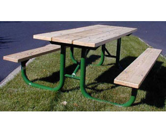 6-Ft. Treated Wood Picnic Table with 2-3/8 OD Painted Metal Frame