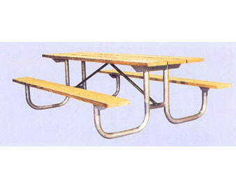 8-Ft. Treated Wood Picnic Table - 1.625 OD Galvanized Metal Frame,PRE-DRILLED