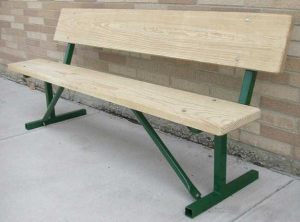 8-Ft. Wood Park Bench with 14-Gauge Galvanized Metal Frame - Portable