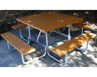48 Square Recycled Plastic Lumber Picnic Table - Galvanized Steel Frame