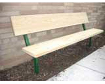5-Ft. Stationary Wood Park Bench with 14-Gauge Painted Metal Frame