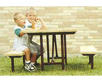 5-Ft. Wood Tot Table - 14-Gauge Painted Metal Frame - PRE-DRILLED PLANKS