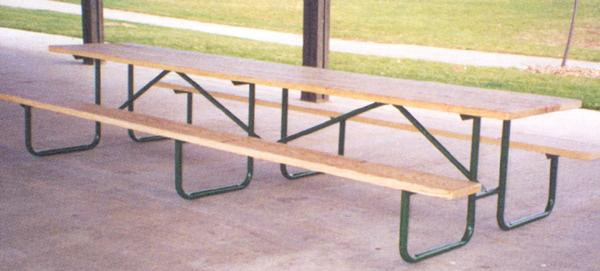 10-Ft. Treated Wood Specialty Picnic Table w 14-Gauge Painted Metal Frame