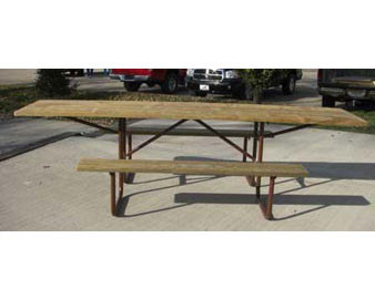 10-Ft. ADA Wood Picnic Table with 11-Gauge Galvanized Metal Frame - PRE-DRILLED PLANKS