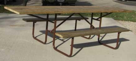 10-Ft. Wood ADA Picnic Table with 11-Ga. Painted Metal Frame - PRE-DRILLED
