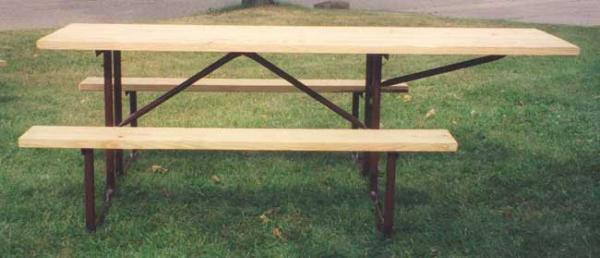 8-Ft. Treated Wood ADA Picnic Table with 11-Gauge Painted Metal Frame