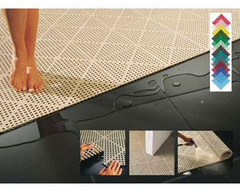 Case of 12: 1-Ft Square Non-Slip Interlocking Vinyl Flooring Tiles.