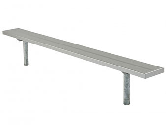 Player's Bench Galv. Steel Frame Anodized Aluminum Planks In-Ground Mount