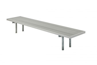 Double Aluminum Players Bench with Galvanized Frame - In-Ground Mount