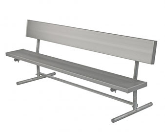 Players Bench w Back Galv. Steel Frame Aluminum Plank Seat & Back Portable