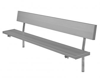 Aluminum Player's Bench with Back and Galvanized Frame - In-Ground