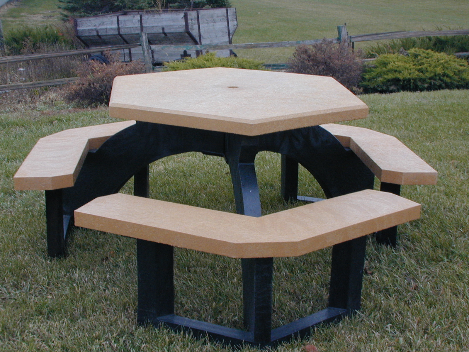 41 Heavy-Duty Recycled Plastic Hexagonal Picnic Table