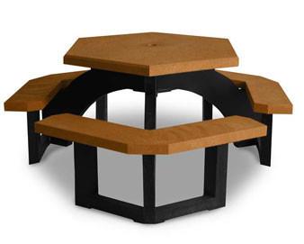 41 Heavy-Duty Recycled Plastic Hexagonal Picnic Table