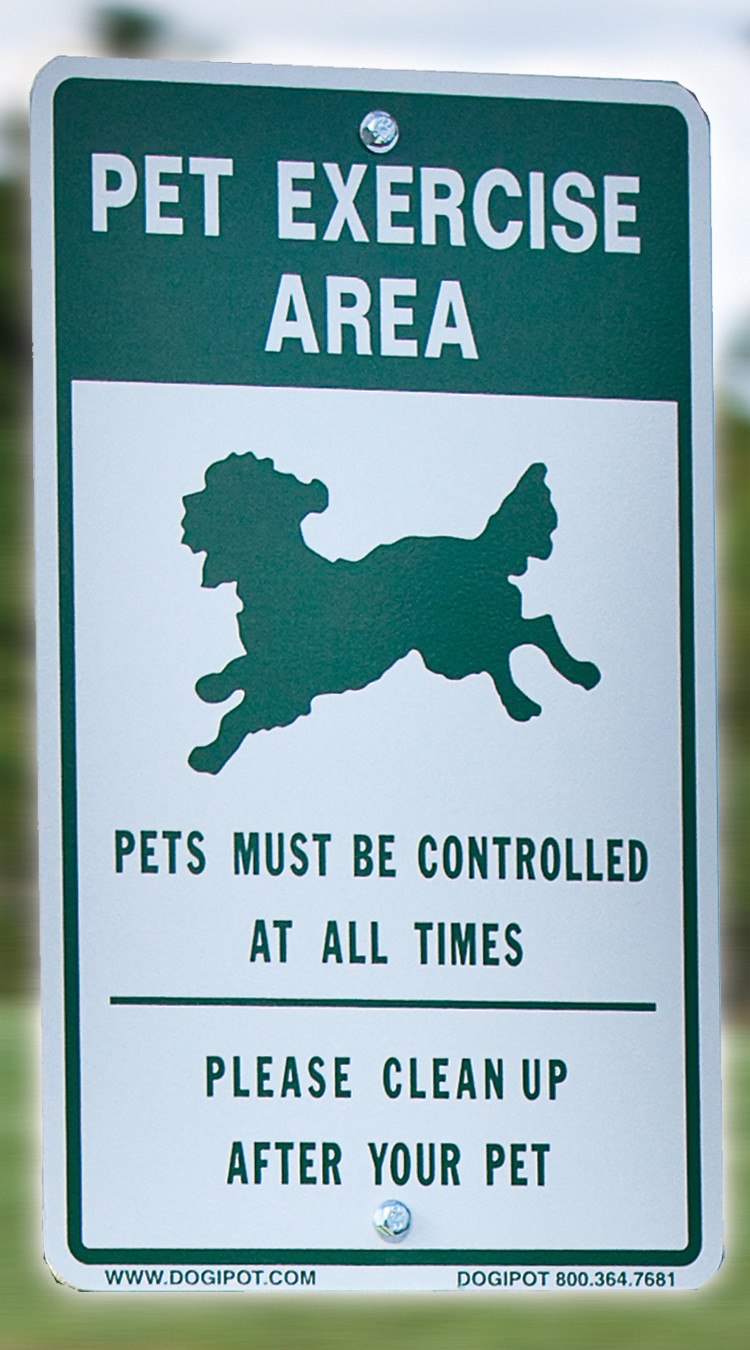DOGIPOT Aluminum Reflective Sign: 'Pet Exercise Area'