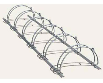 6-Bike Double-Sided Galvanized Circular Bike Rack - 4'L