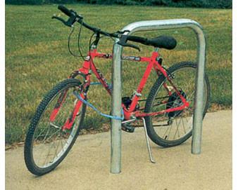 2-Bike Dbl-Sided Heavy-Duty Hitching Post Bike Rack In-Ground w Cover Caps