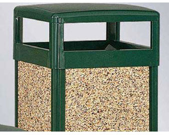 29-Gal. Aspen Series Sq. Hinged Covered Top Heavy Gauge Steel Trash Can
