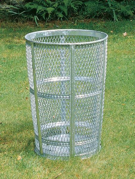 45-Gal. Round Open Top Galvanized Steel Trash Receptacle - 24D x 33H