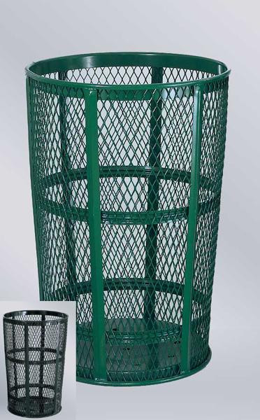 45-Gal. Round Open Top Steel Trash Receptacle- 24D x 33H