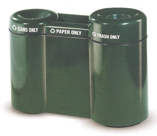 15-Gal. 3 Container Fiberglass Recycling Center with Plastic Liners