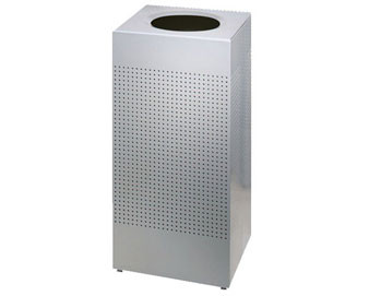 10-Gal. Silhouettes Rectangular Open Top Stainless Steel Trash Receptacle