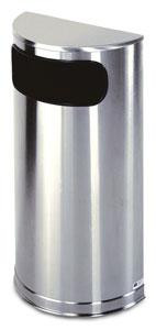 9-Gal. Metallic Series Half Round Flat Top Stainless Steel Trash Receptacle with Liner - 9Lx18W x