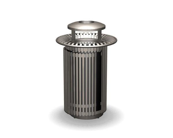 32-Gal. Breckenridge Series Round Covered Top Metal Trash Receptacle
