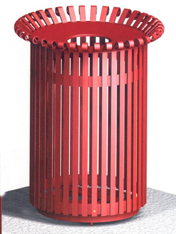32-Gal. English Series Round Open Top Metal Trash Receptacle with Liner