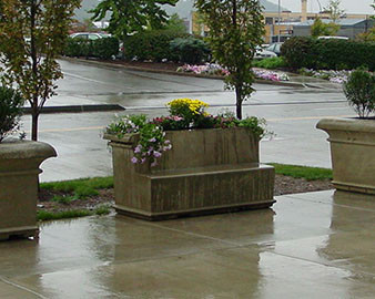 Rectangular Concrete Planter with Attached Bench - 72Lx28Wx36H.