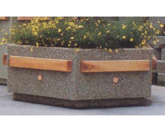 Hexagonal Concrete Planter with Douglas Fir Trim