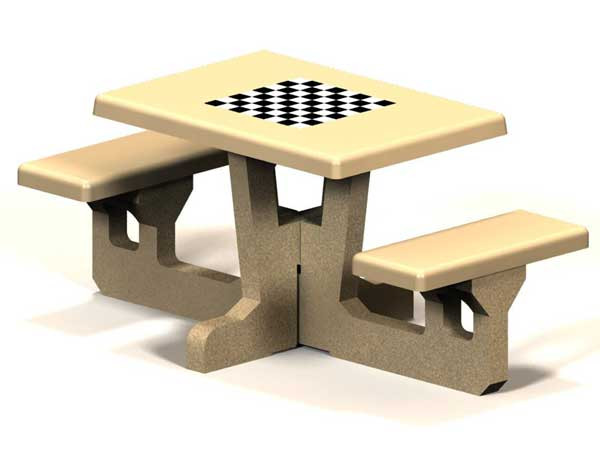 Rectangular Concrete Picnic Table with Game Top- 2 Seats